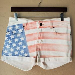 BDG Mid Rise Alexa American Flag Denim Shorts